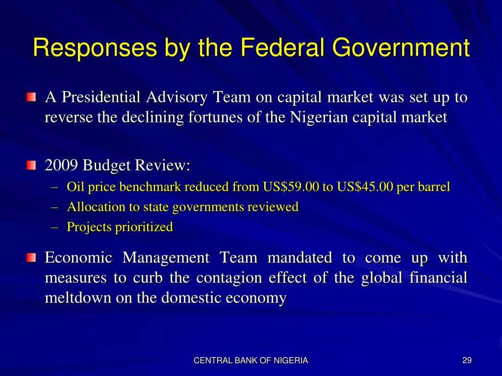 Responses by the Federal Government