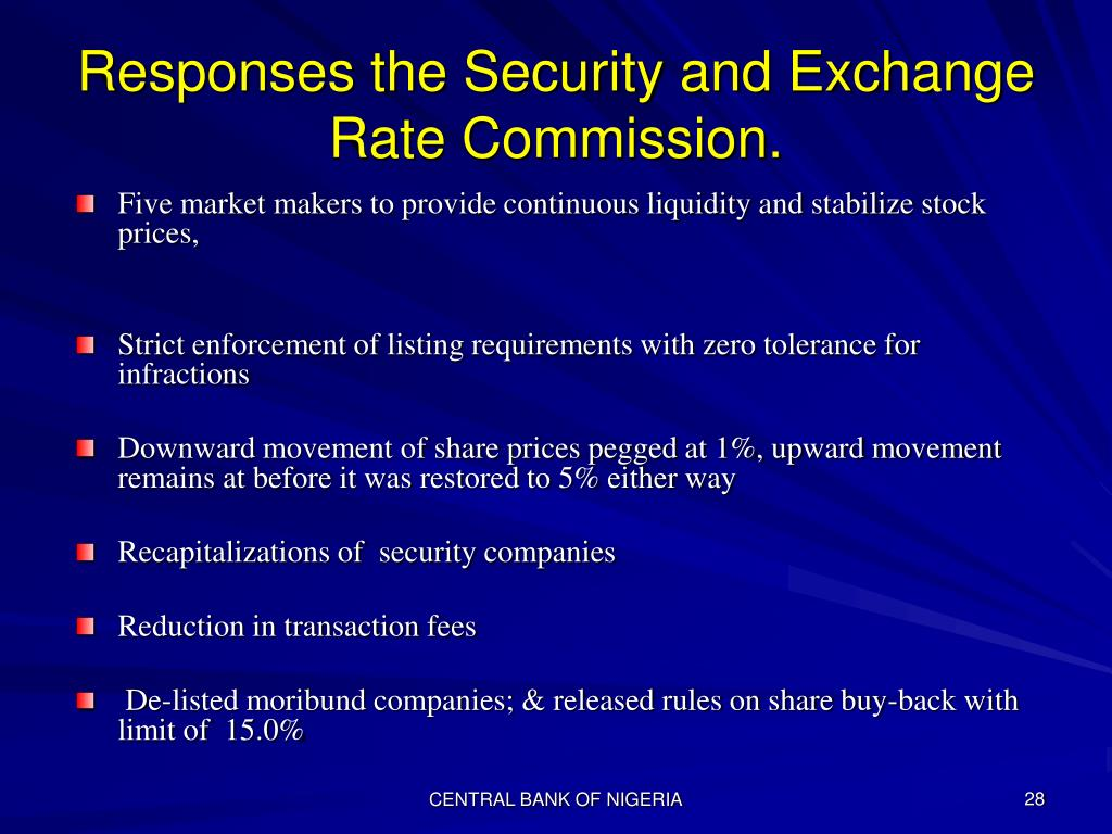Responses the Security and Exchange Rate Commission.