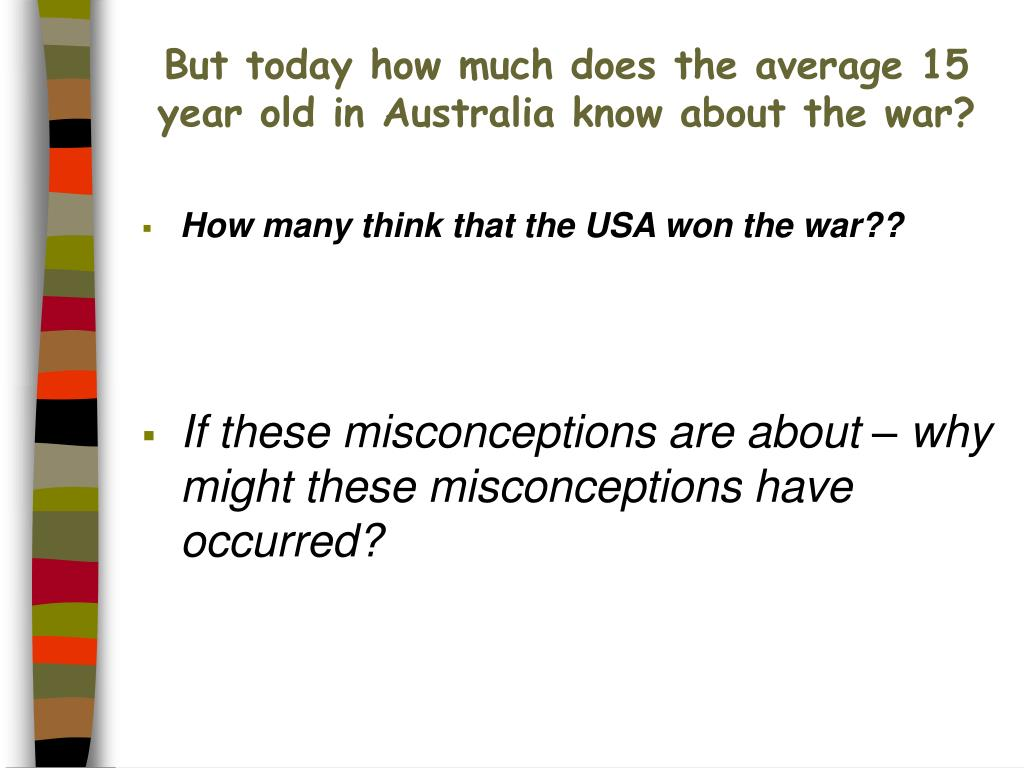 But today how much does the average 15 year old in Australia know about the war?
