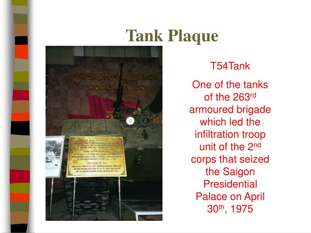 Tank Plaque