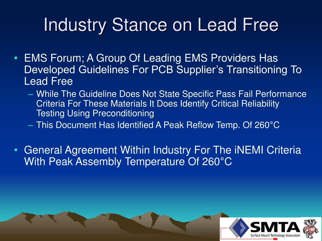 Industry Stance on Lead Free