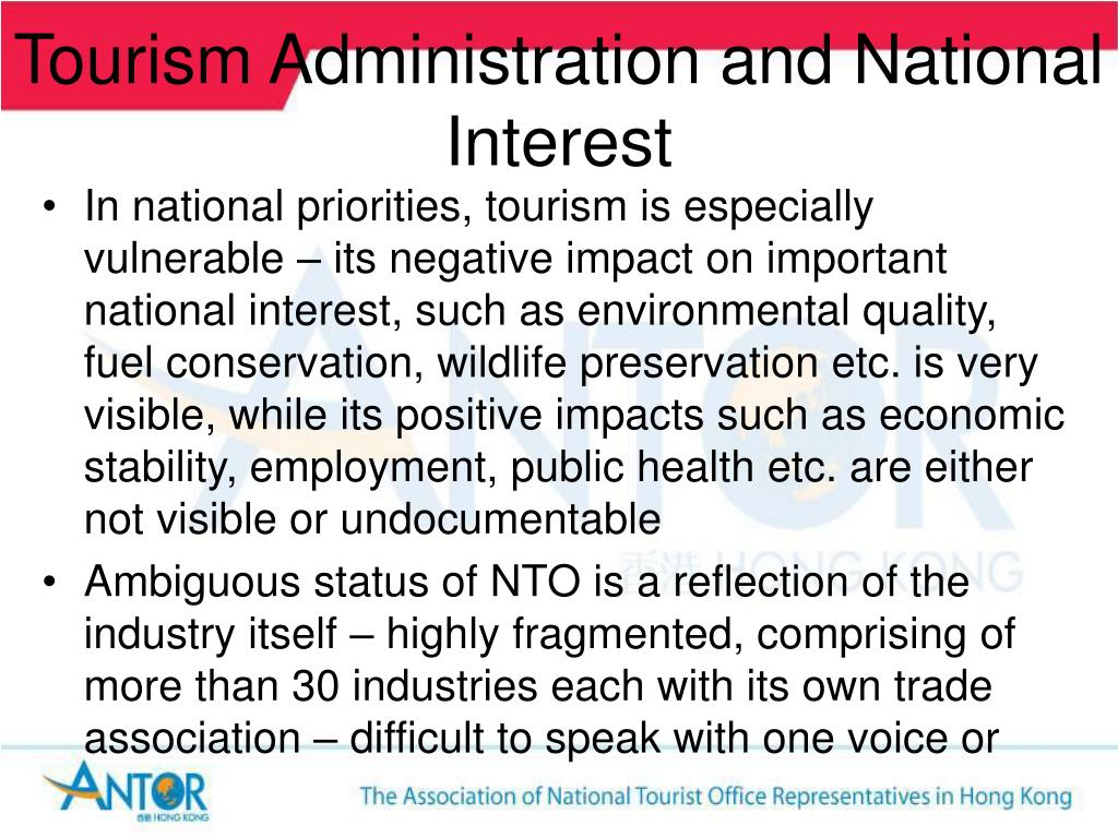 Tourism Administration and National Interest