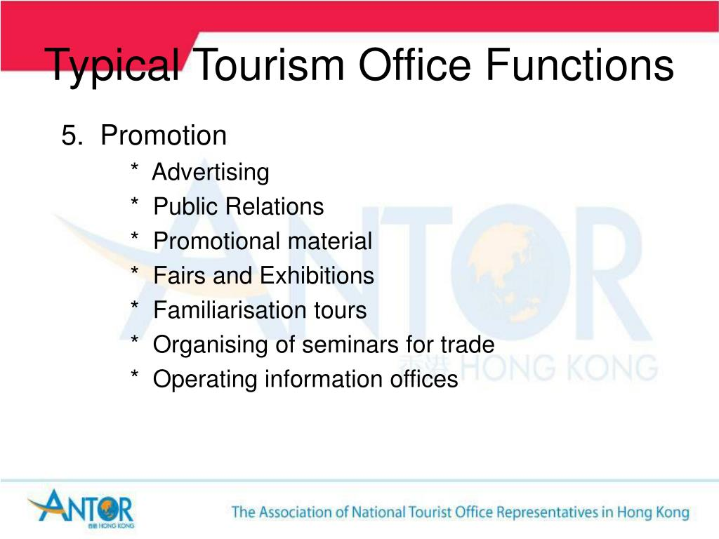 Typical Tourism Office Functions