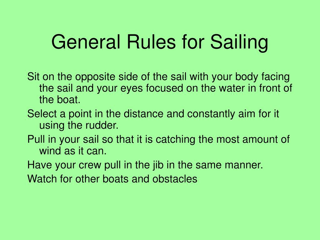General Rules for Sailing
