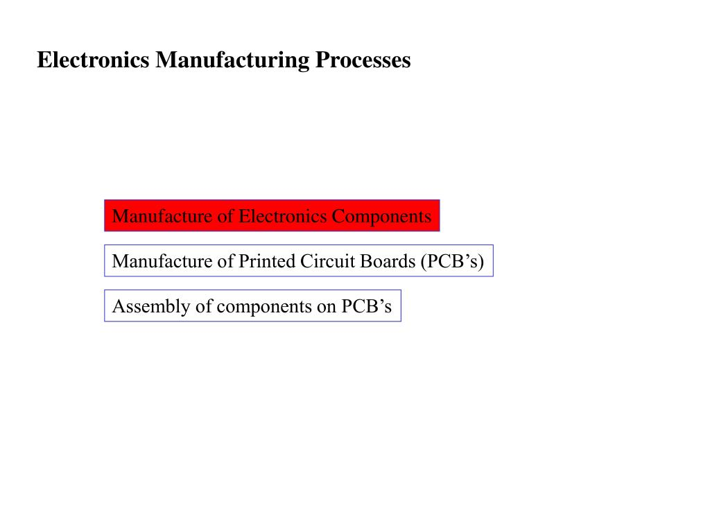 Electronics Manufacturing Processes