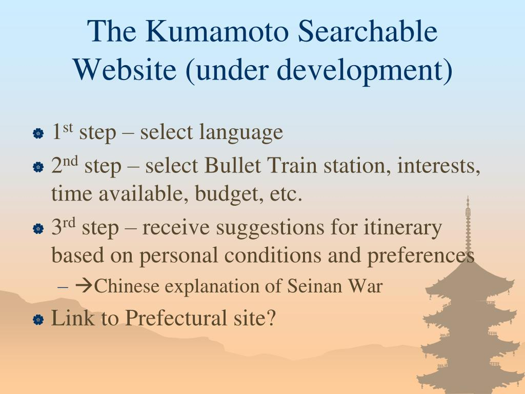 The Kumamoto Searchable Website (under development)