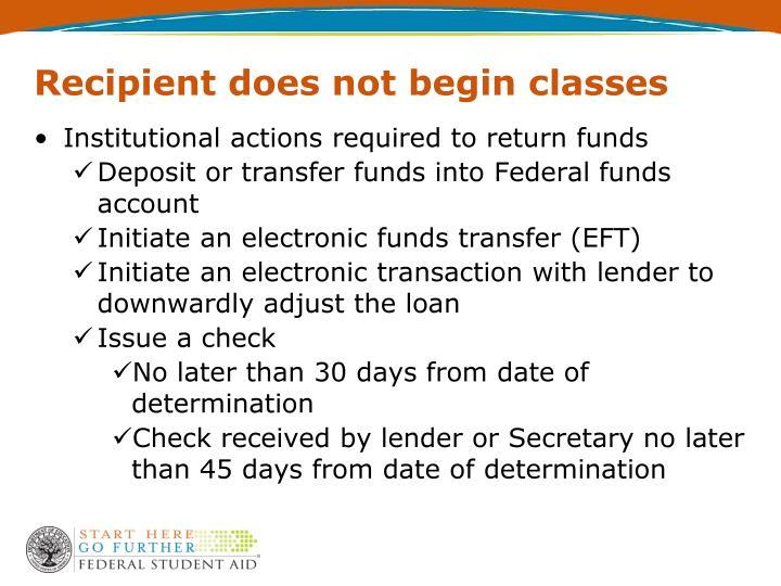 Recipient does not begin classes