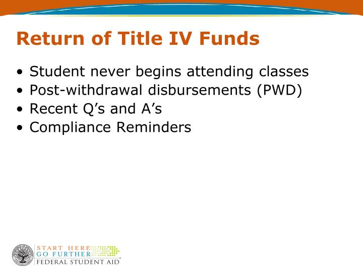 Return of Title IV Funds