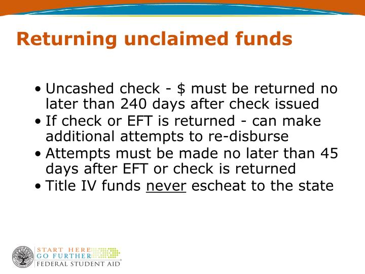Returning unclaimed funds