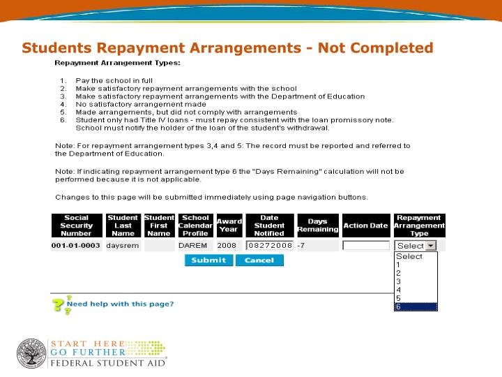 Students Repayment Arrangements - Not Completed