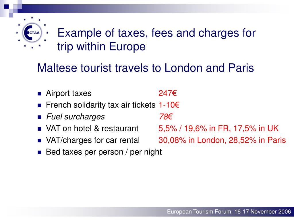 Example of taxes, fees and charges for trip within Europe