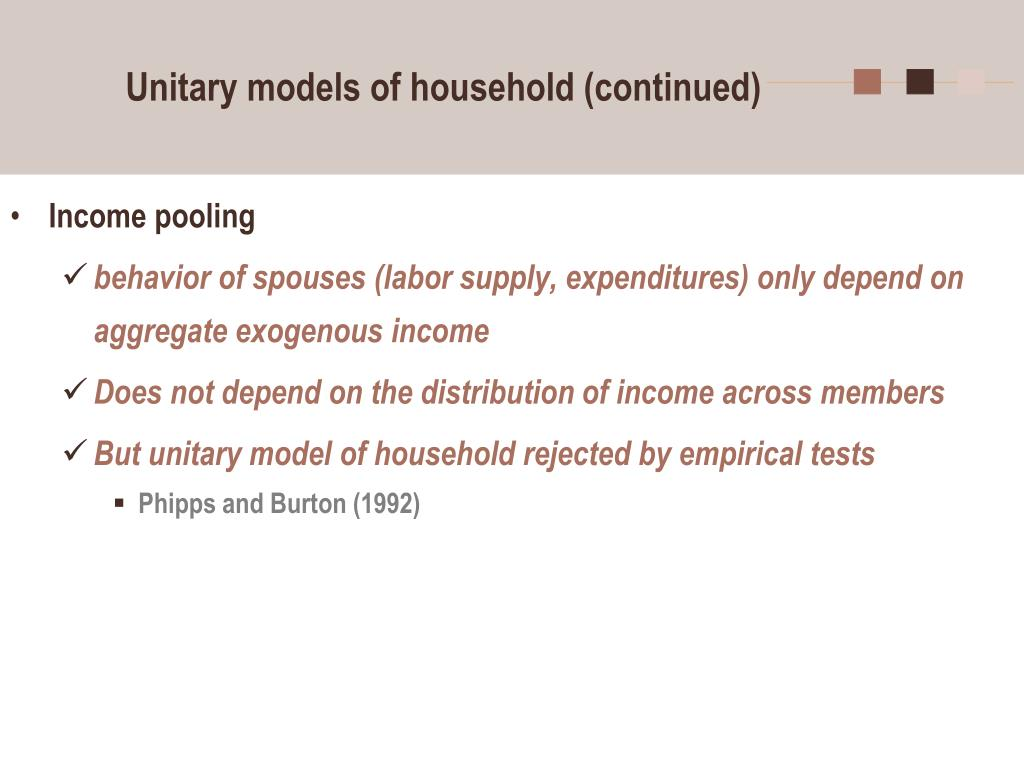 Unitary models of household (continued)