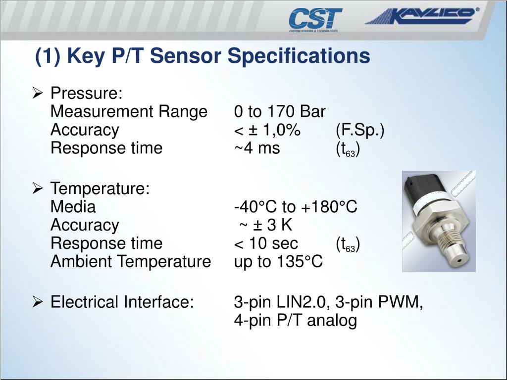 (1) Key P/T Sensor Specifications