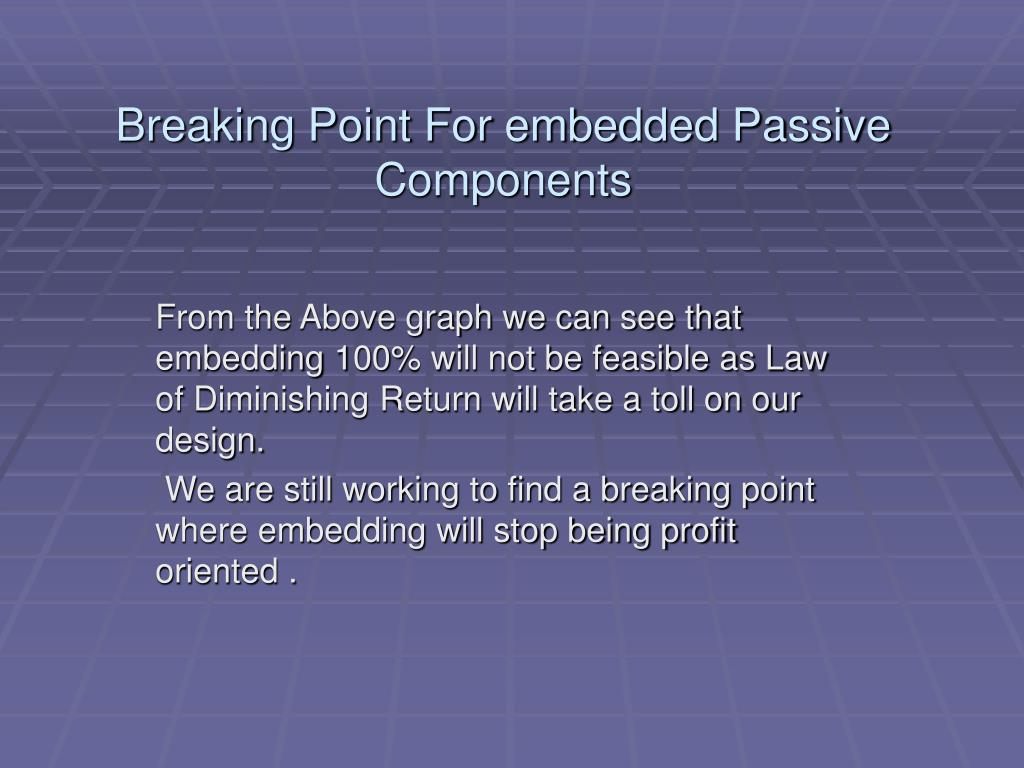 Breaking Point For embedded Passive Components