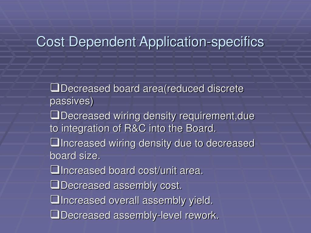 Cost Dependent Application-specifics