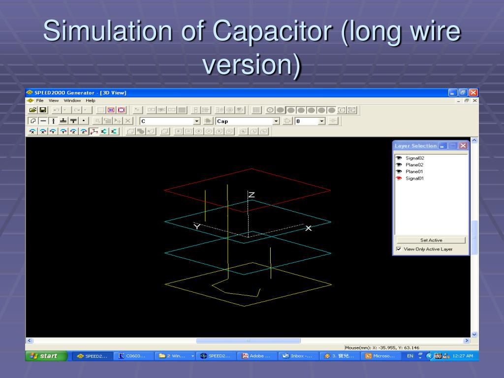 Simulation of Capacitor (long wire version)