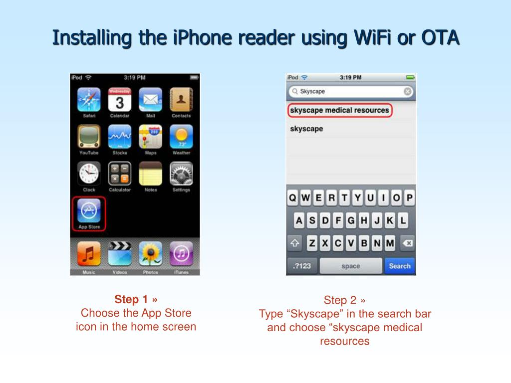 Installing the iPhone reader using WiFi or OTA