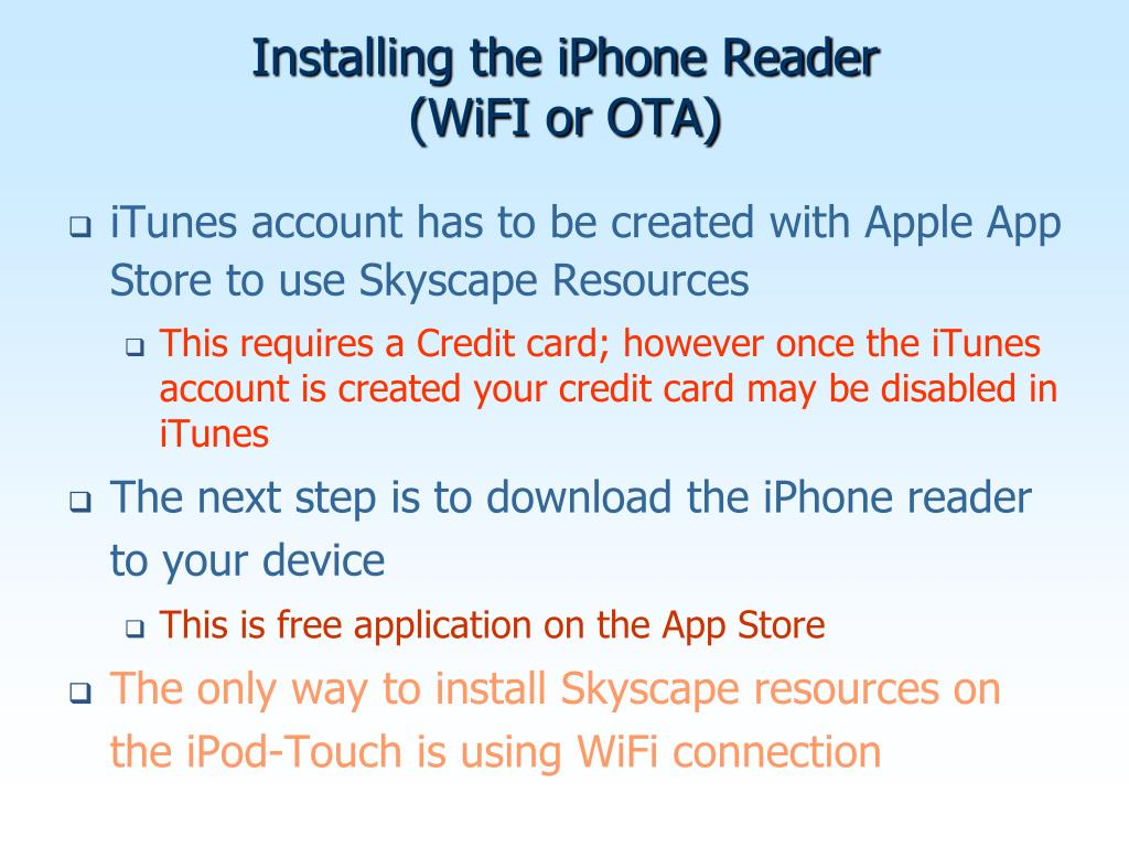 Installing the iPhone Reader