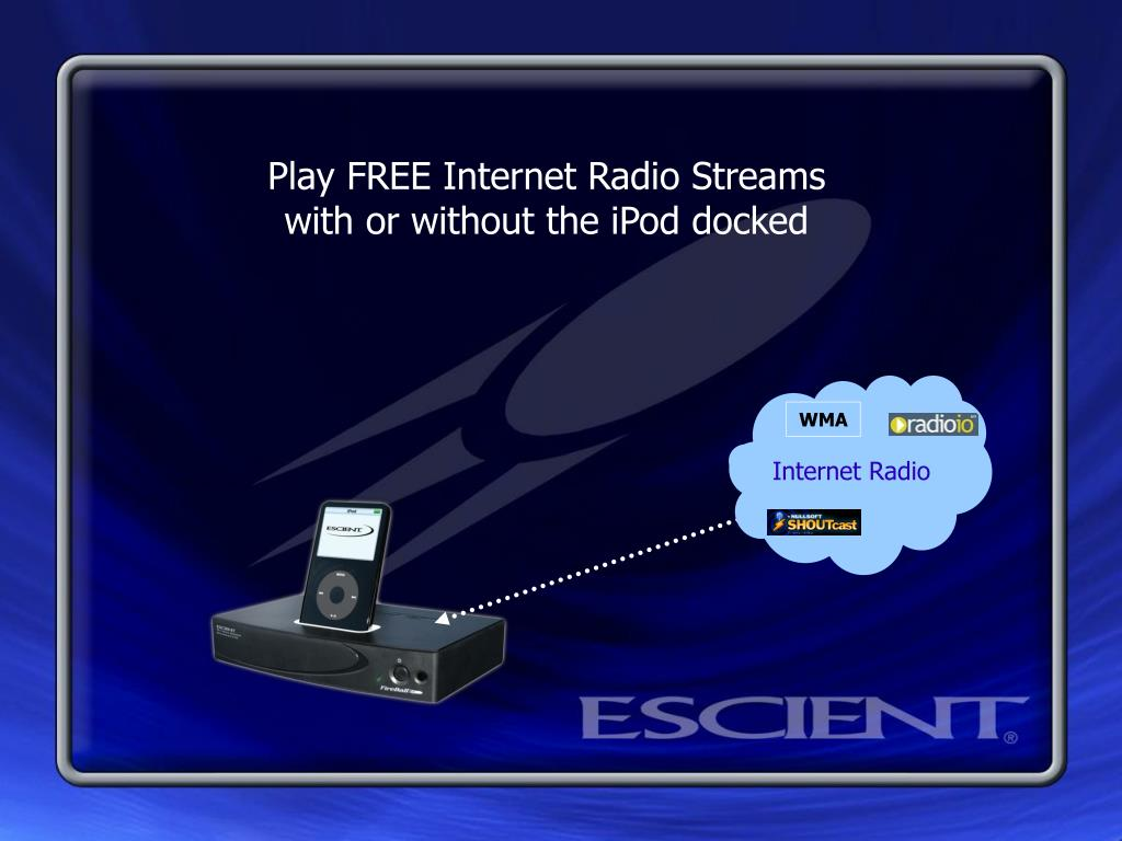 Play FREE Internet Radio Streams with or without the iPod docked