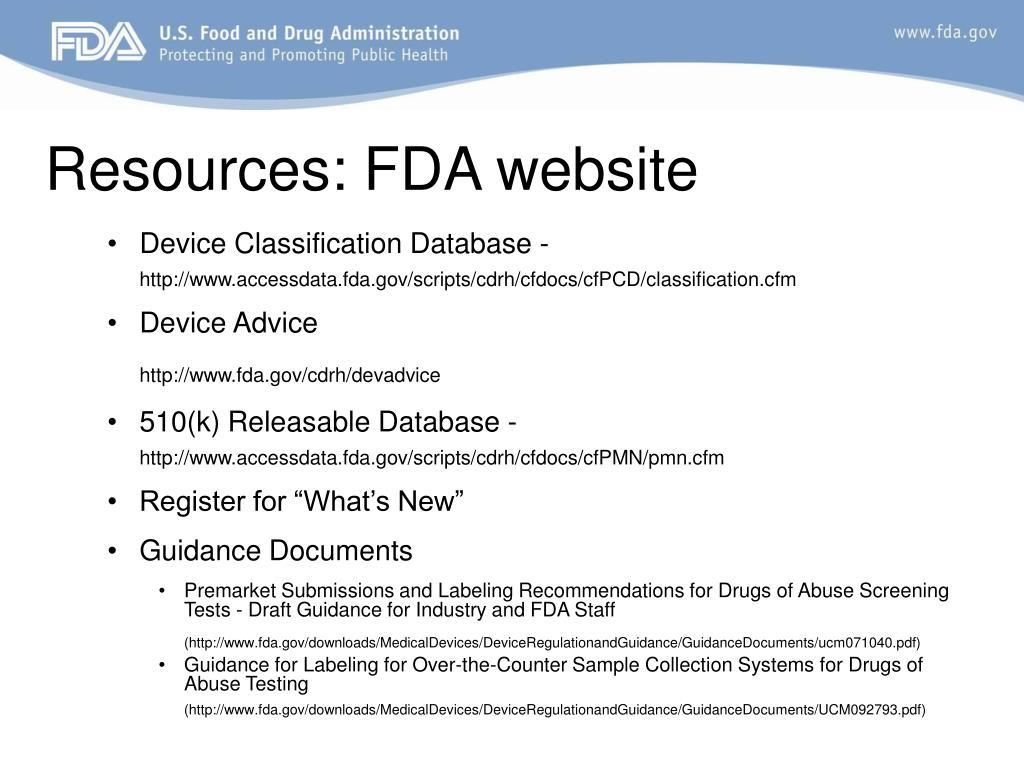 Resources: FDA website