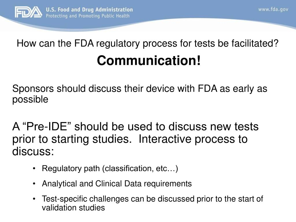 How can the FDA regulatory process for tests be facilitated?