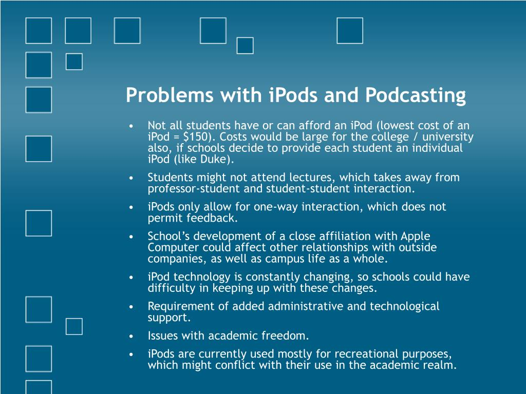 Problems with iPods and Podcasting