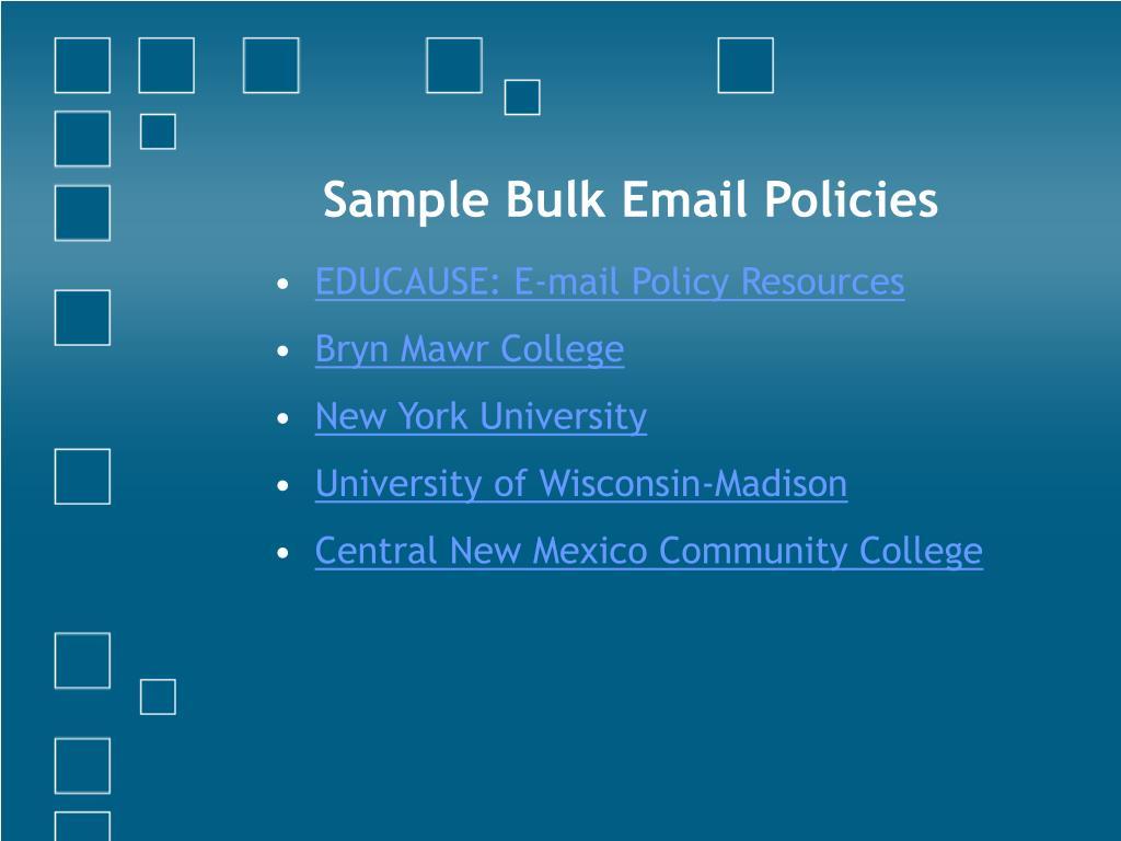 Sample Bulk Email Policies