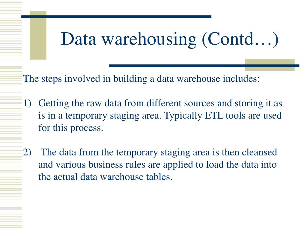 Data warehousing (Contd…)