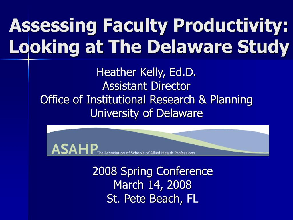 Assessing Faculty Productivity:
