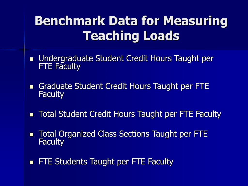 Benchmark Data for Measuring Teaching Loads