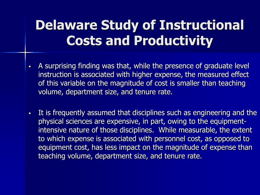 Delaware Study of Instructional Costs and Productivity
