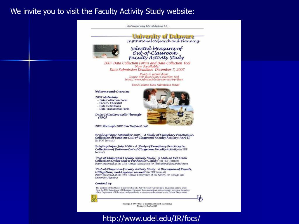 We invite you to visit the Faculty Activity Study website: