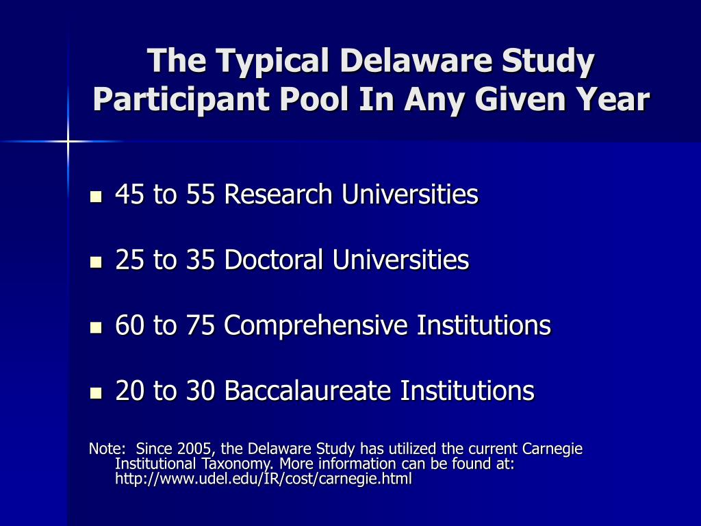The Typical Delaware Study Participant Pool In Any Given Year