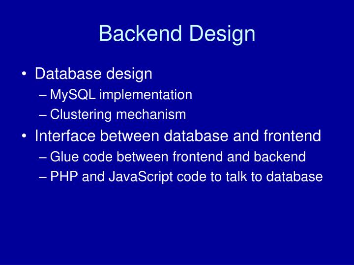 Backend Design