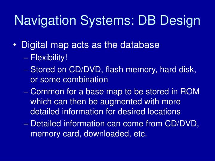 Navigation Systems: DB Design