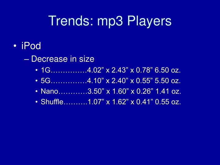 Trends: mp3 Players
