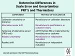 determine differences in scale error and uncertainties prt s and thermistors