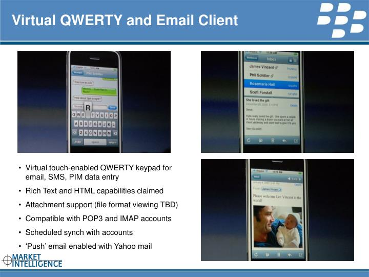 Virtual QWERTY and Email Client