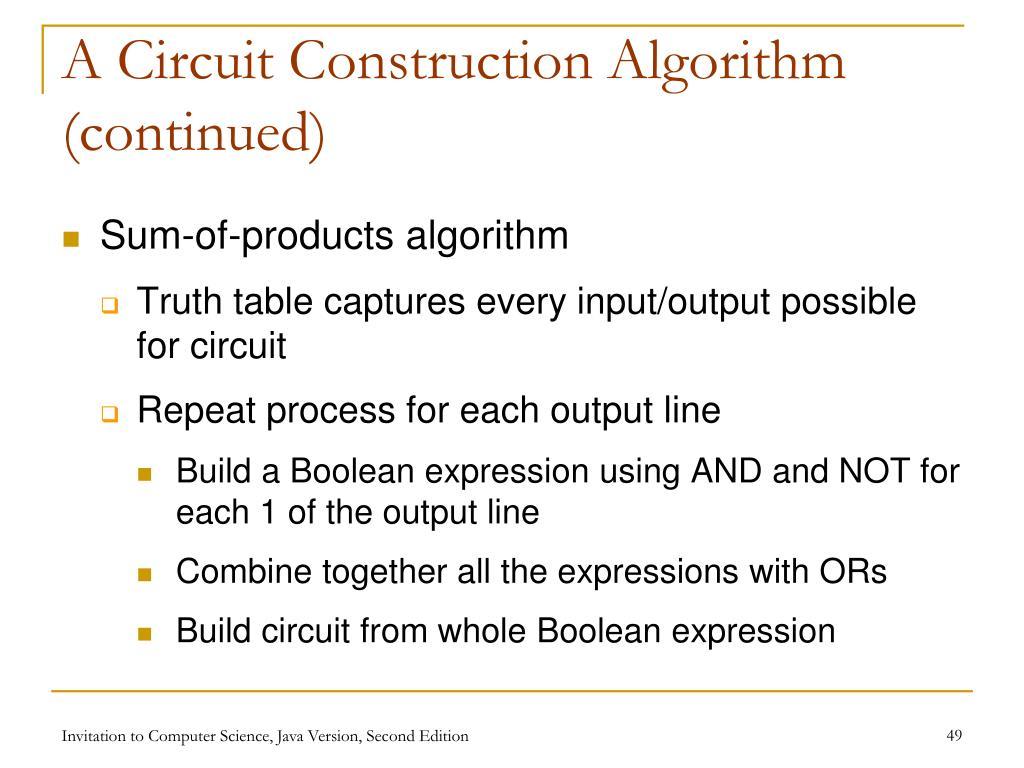 A Circuit Construction Algorithm (continued)