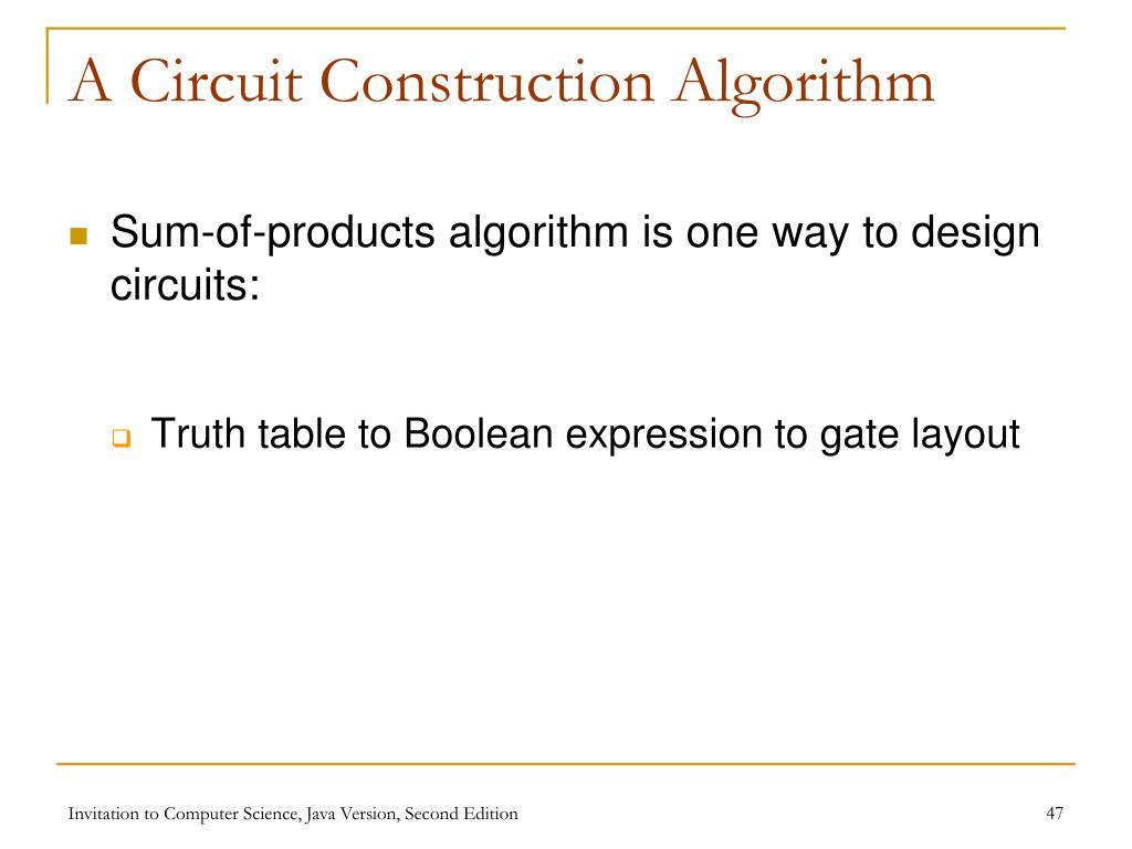 A Circuit Construction Algorithm