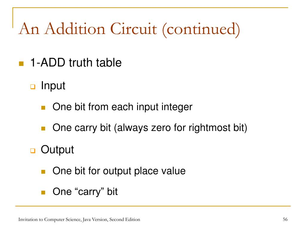 An Addition Circuit (continued)