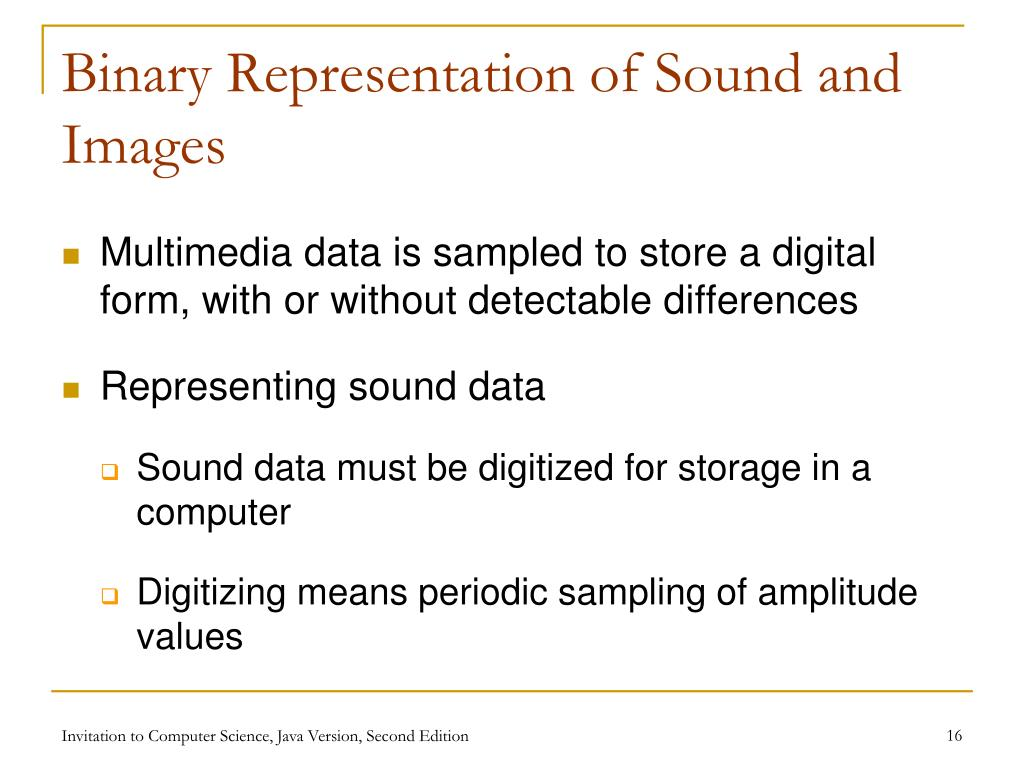 Binary Representation of Sound and Images