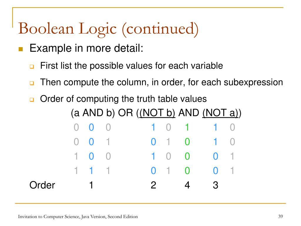 Boolean Logic (continued)