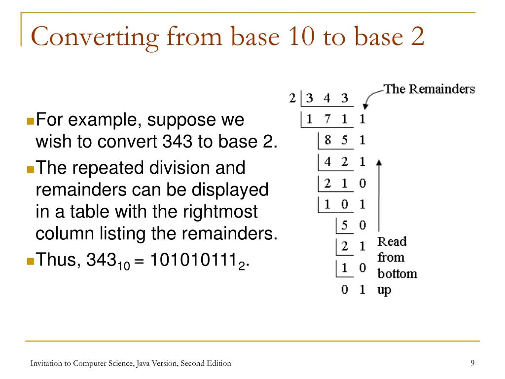 Converting from base 10 to base 2
