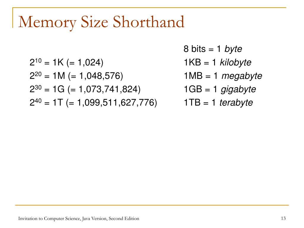 Memory Size Shorthand