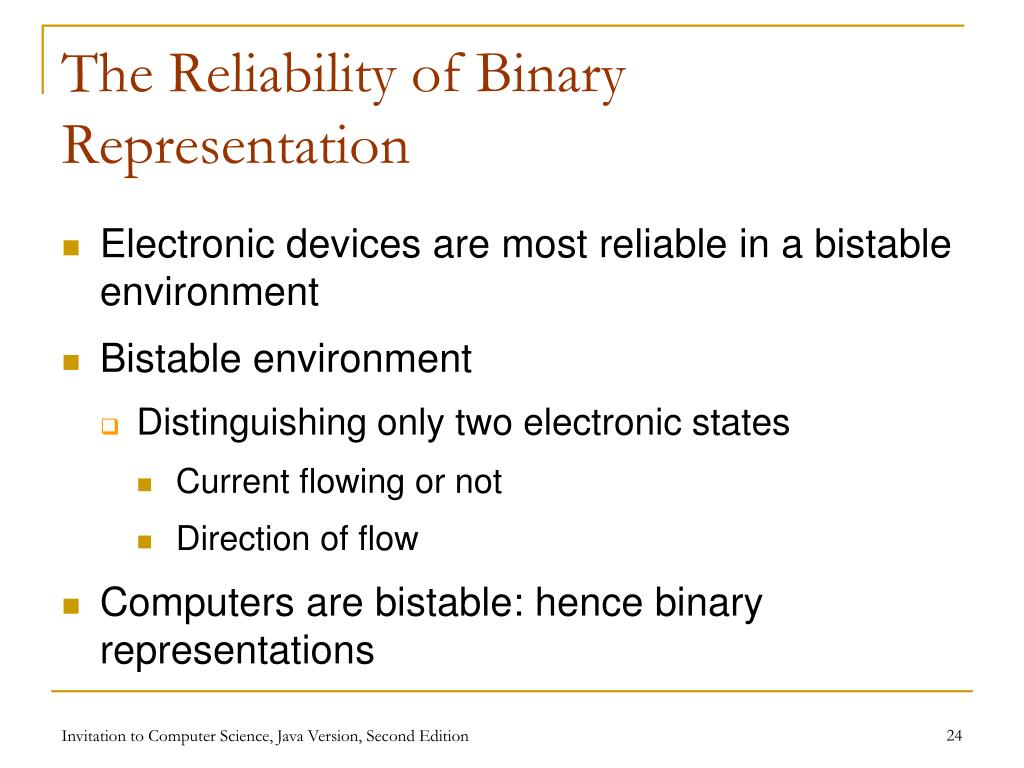 The Reliability of Binary Representation
