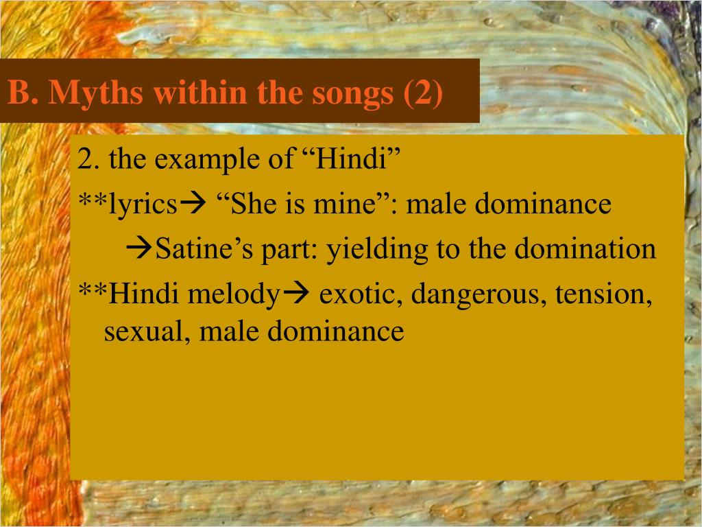 B. Myths within the songs (2)