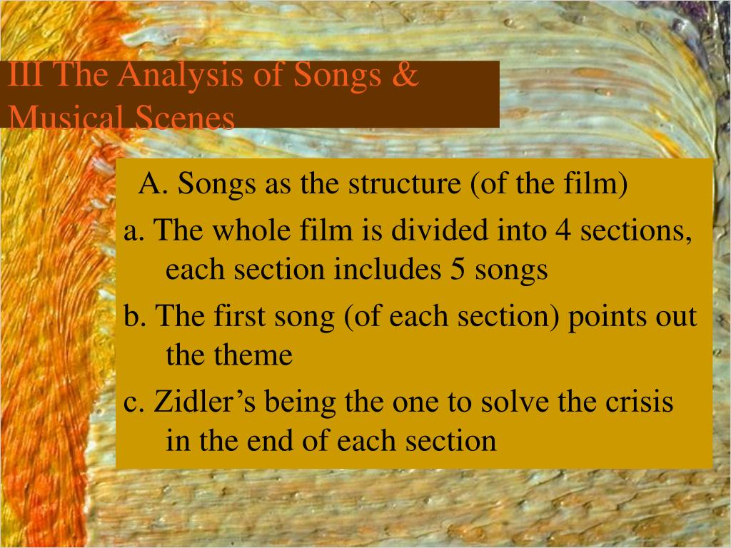 III The Analysis of Songs & Musical Scenes