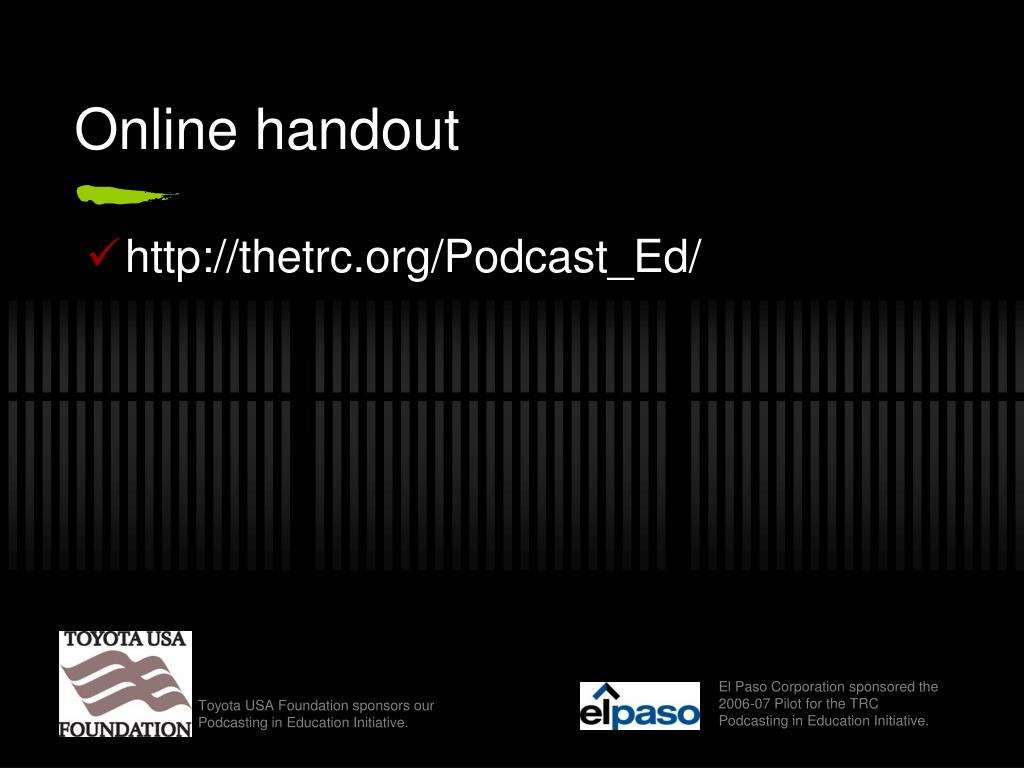 Online handout