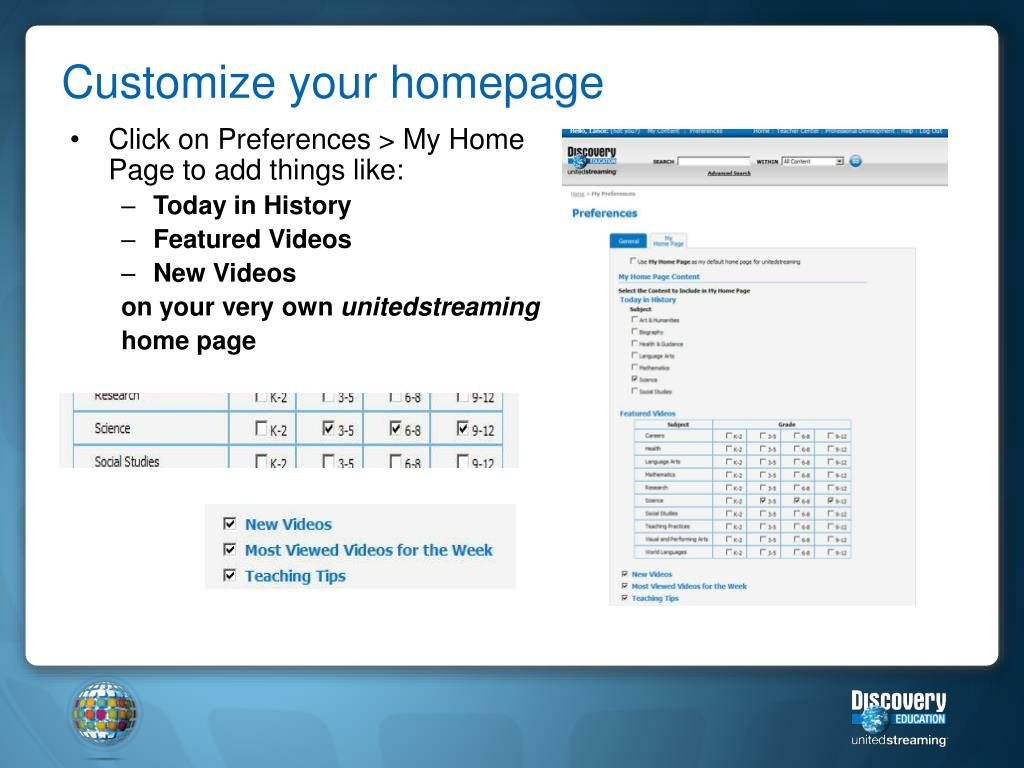 Customize your homepage